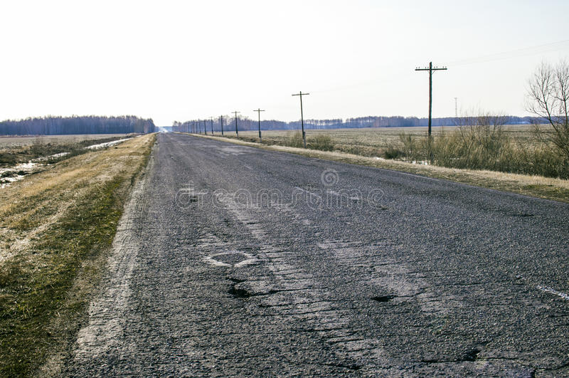 Old road from asphalt. royalty free stock image