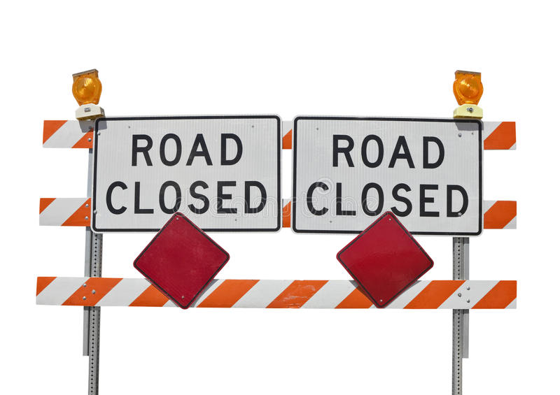 Old Road Closed Sign Isolated stock photography