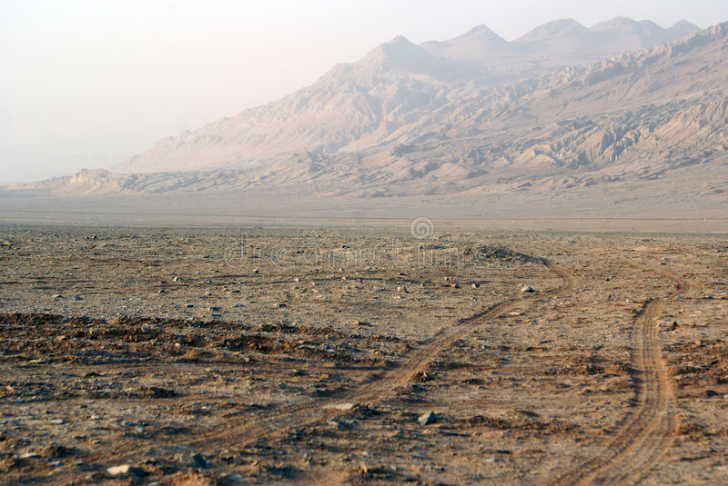 Old road in desert, West China stock image