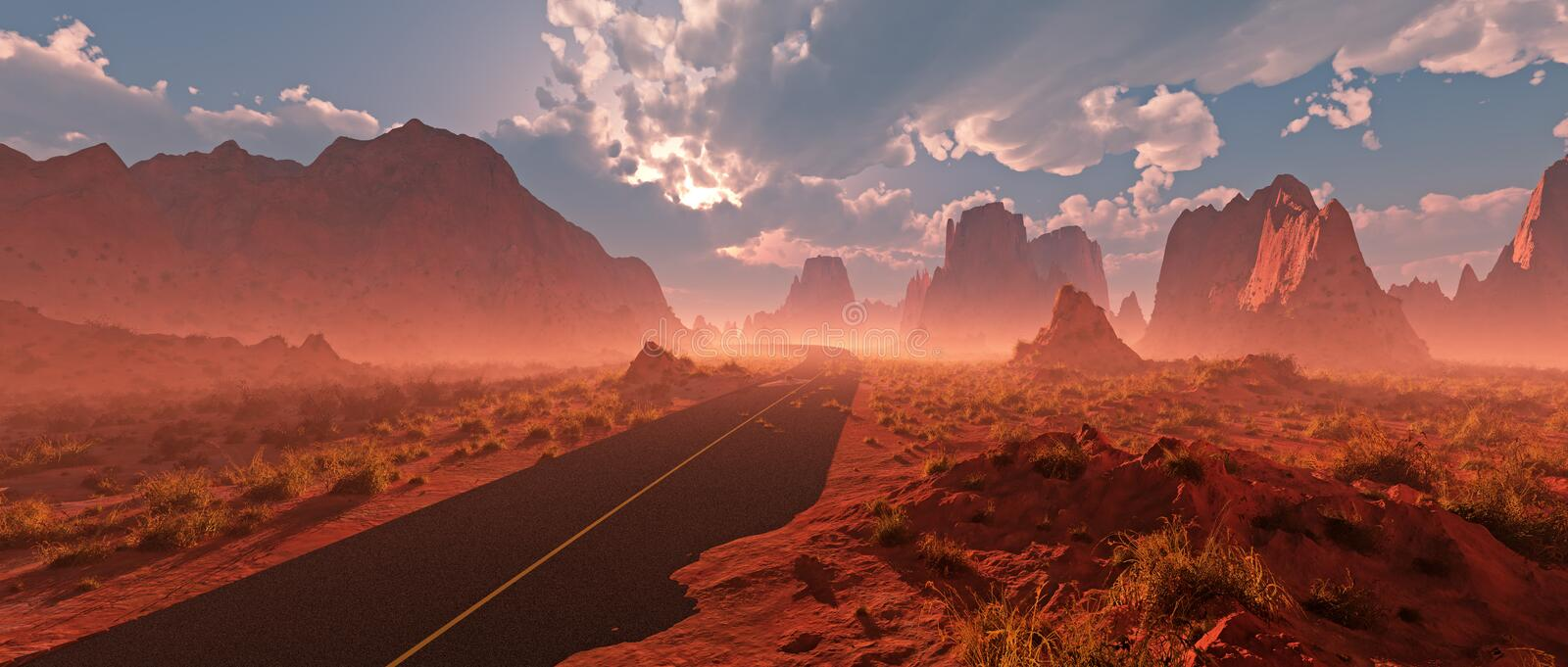 Old road through red rocky desert landscape with cloudy sky and royalty free illustration