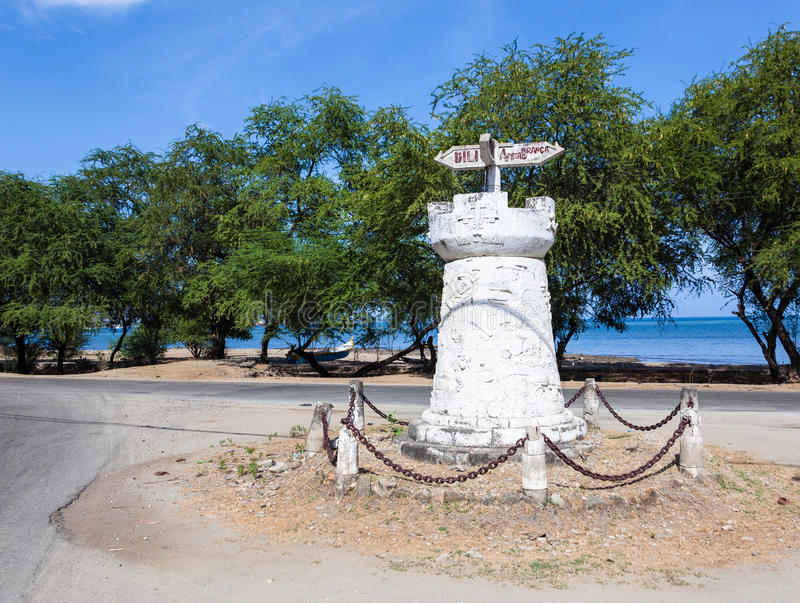 Old road sign in Dili, East Timor. (Timor Leste royalty free stock photography
