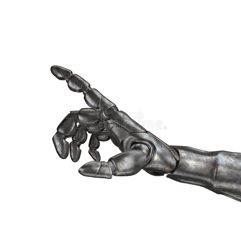 The old robot arm is scratched. 3d rendering. On a white background stock image