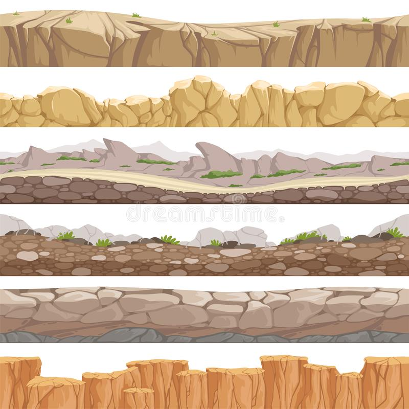 Old rock road seamless. Endless fantastic rockie ground various types games landscape vector backgrounds. Ground scene stony, nature level layer pattern for vector illustration