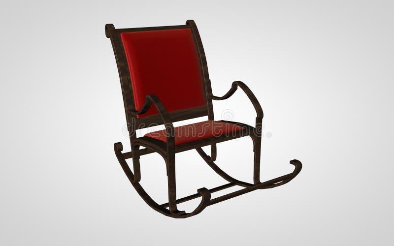 Old Rocker. 3D render, old rocker, retro mobiliary stock illustration