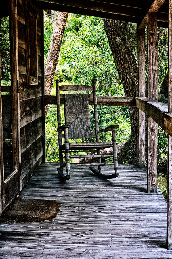 Download Old Rocking Chair On Porch Of House Stock Photo   Image Of Rural,  Rocking