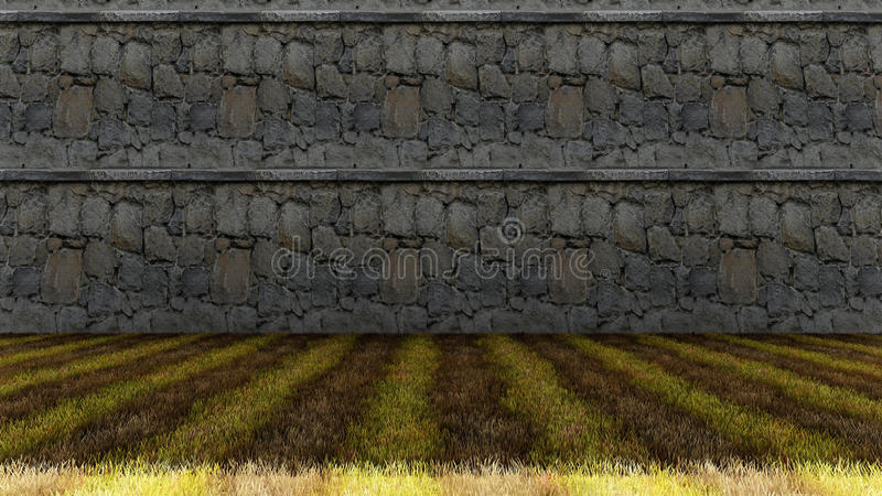 Old Rocks Wall with Colorful Grass Floor royalty free stock images