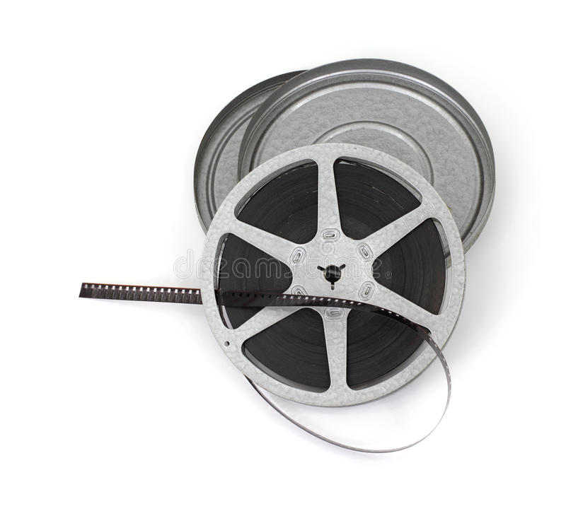 Old roll of movie film stock image