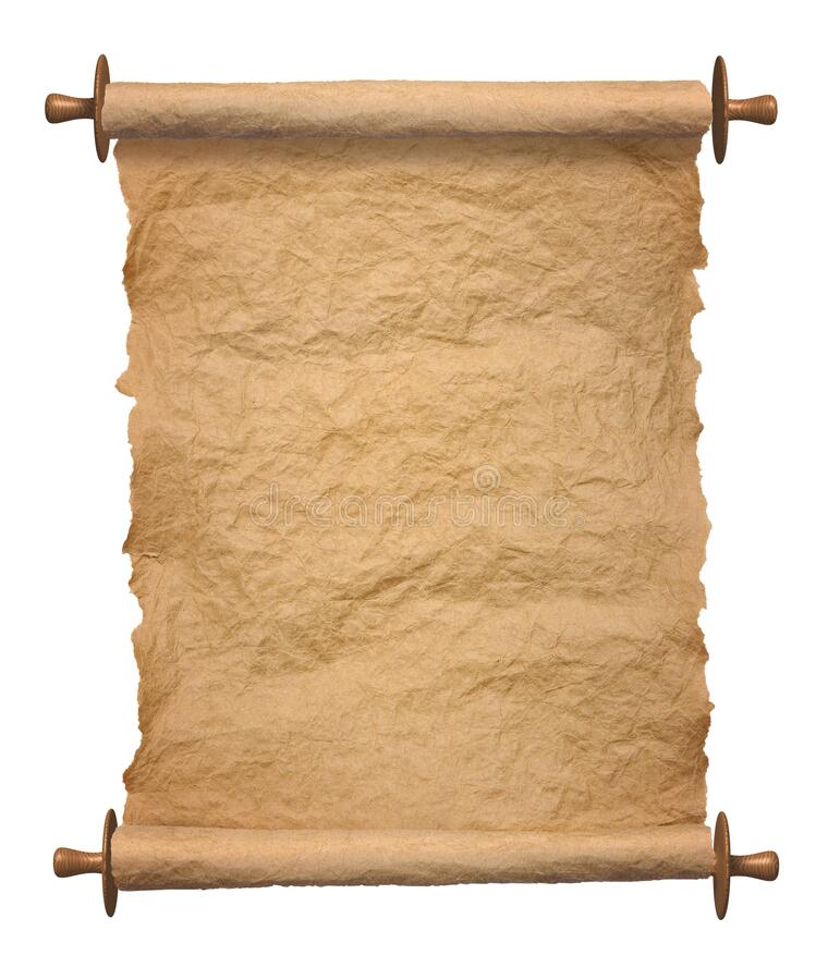 Old rolled parchment vertical on white background royalty free stock photography