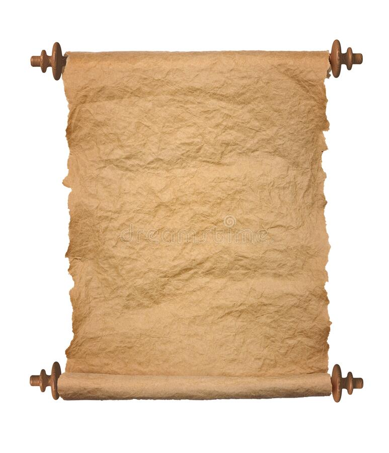 Old rolled parchment on white background stock photo