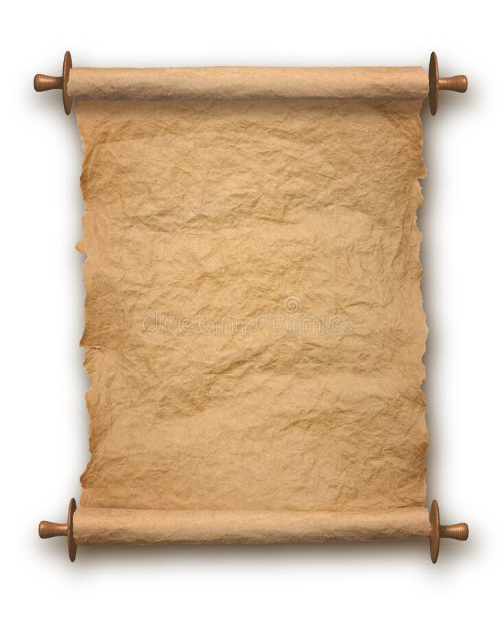 Old rolled parchment vertical on white background stock photos