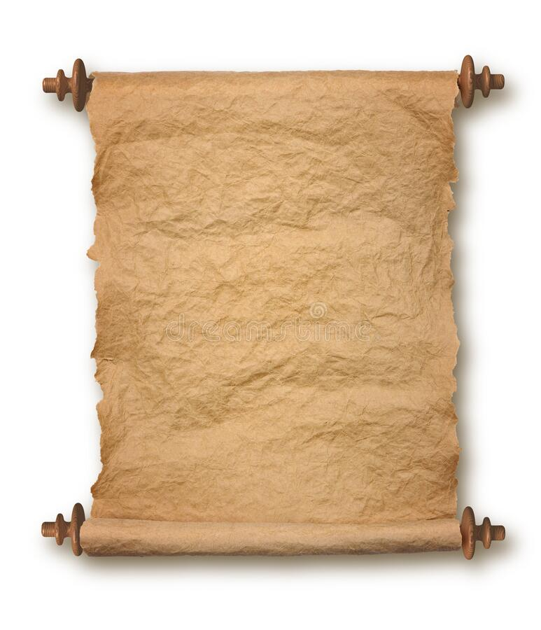 Old rolled parchment on white background stock photography