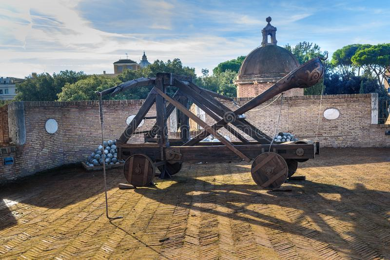 Old roman catapult in Castle Saint Angelo. Rome. Italy royalty free stock photo