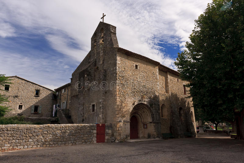 Old roman church. France, Ardeche. Saint Maurice d'Ibie. A nice village from with old roman church from the 12 th century royalty free stock photography