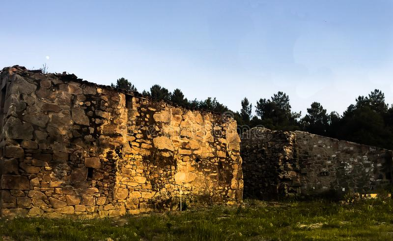Old Roman Etructure Ruines in Sunset. Old rocks Roman Estructure ruines located North of Spain with a sunset ahead stock photos