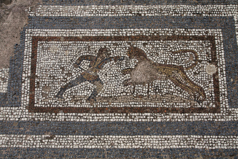 Old roman mosaic floor in Kos city royalty free stock image