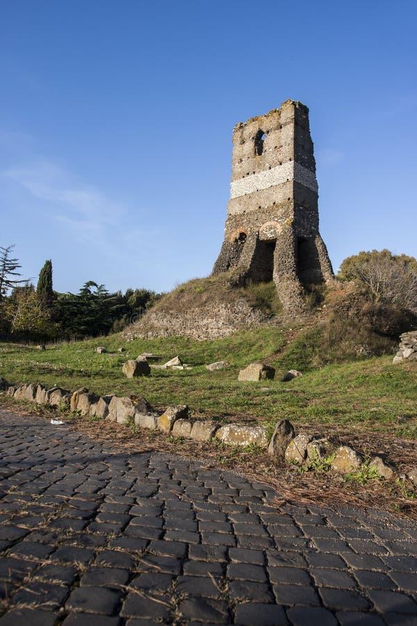 Old Roman ruin in Via Appia Antica (Rome, Italy). An old ruin in Via Appia Antica, a road build by the ancient Romans royalty free stock photo