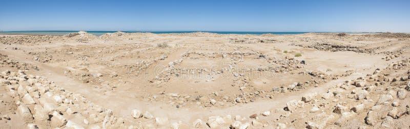 Old Roman Ruins On Desert Coastline Stock Photo