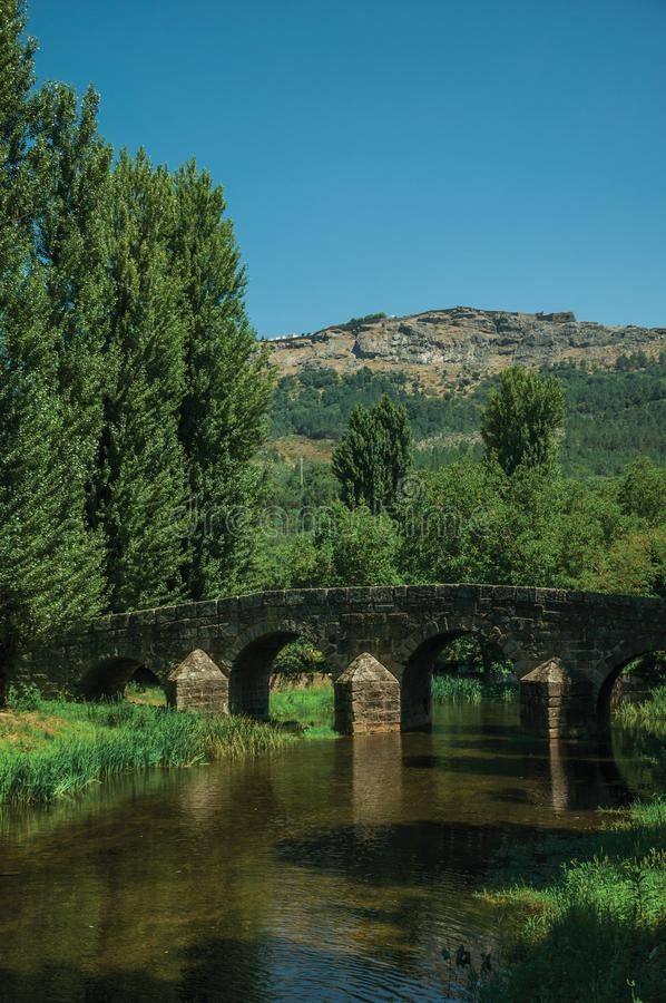 Old Roman stone bridge over the Sever River in Portagem. Old Roman stone bridge still in use over the Sever River, among leafy trees and undergrowth on sunny day royalty free stock photos