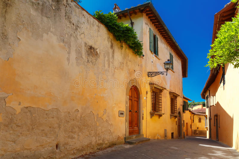Old roman street in Florence, Tuscany, Italy stock photo