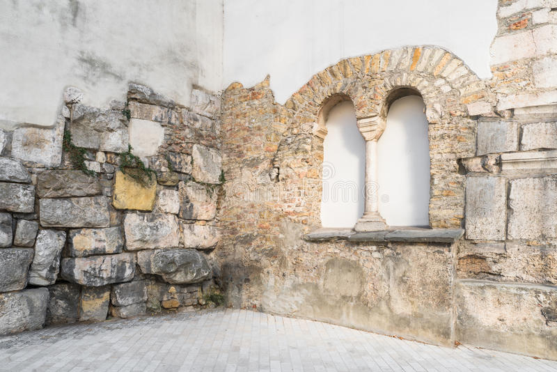 Old roman surrounding wall of the castra regina in Regensburg, Germany royalty free stock image