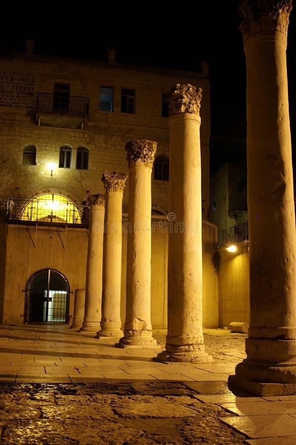 Old romanian columns in jerusalem stock photography