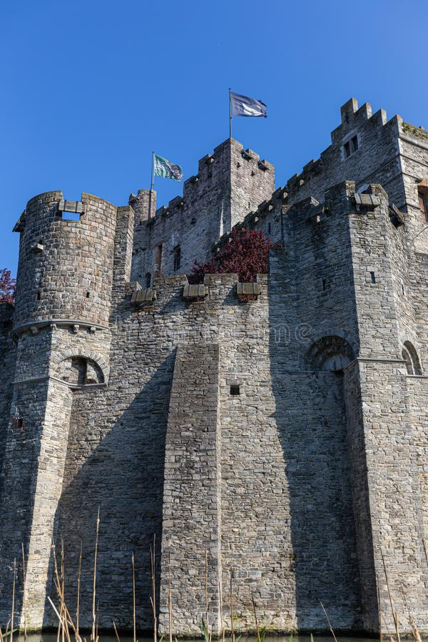 Old romantic Castle Gravensteen, Ghent royalty free stock images