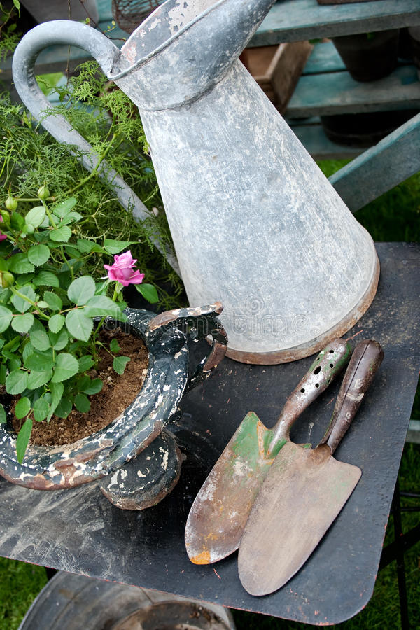 Old romantic gardening items stock images