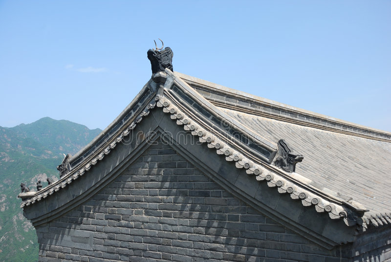 Old roof of Chinese temple stock images