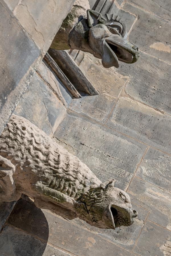 Old roof figures of scary gargoyles at main facade of cathedral in Magdeburg, Germany, closeup, details royalty free stock image
