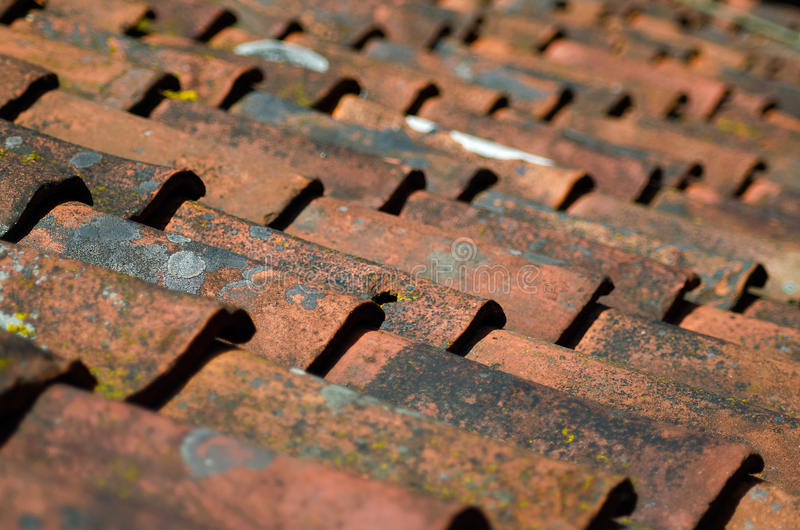 Old roof tiles background royalty free stock photos