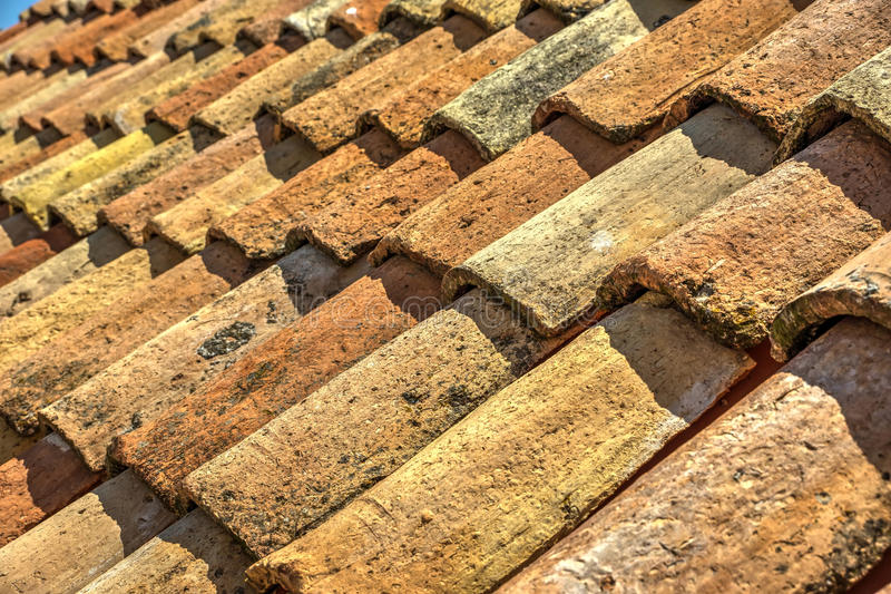 Old roof tiles stock images