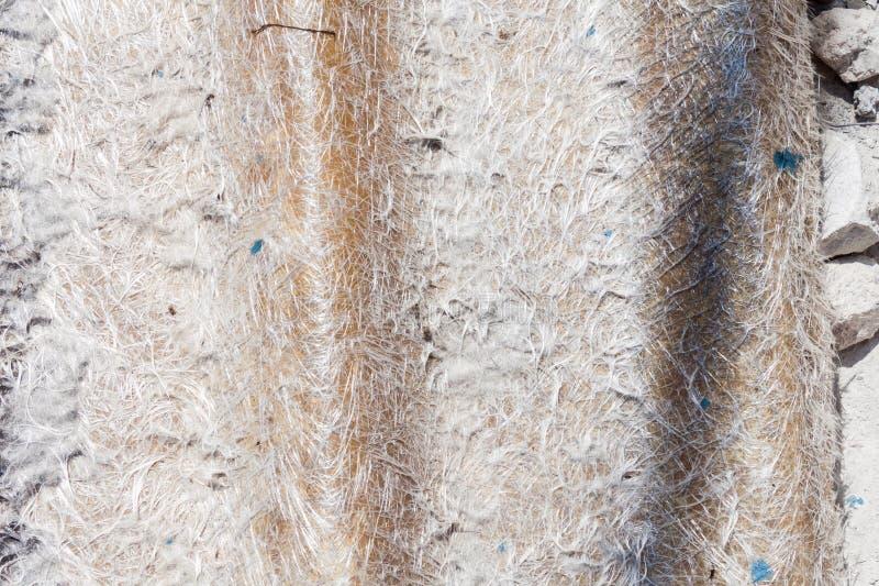 Old roofing tile of fiber glass. Close up old roofing tile of fiber glass stock photo