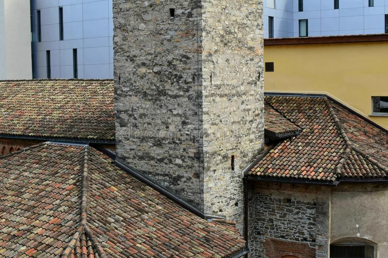 Old roofs, roof tiles of Lugano. Switzerland. stock photos