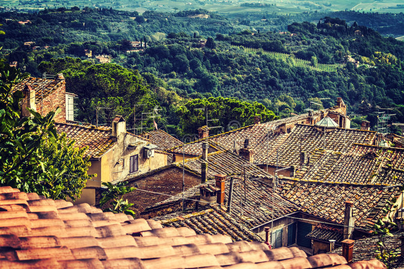 Old roofs in Tuscany. Italy royalty free stock photo