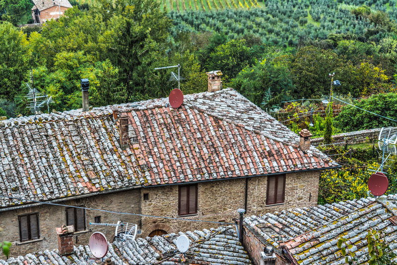 Old roofs in Tuscany. Italy stock photo