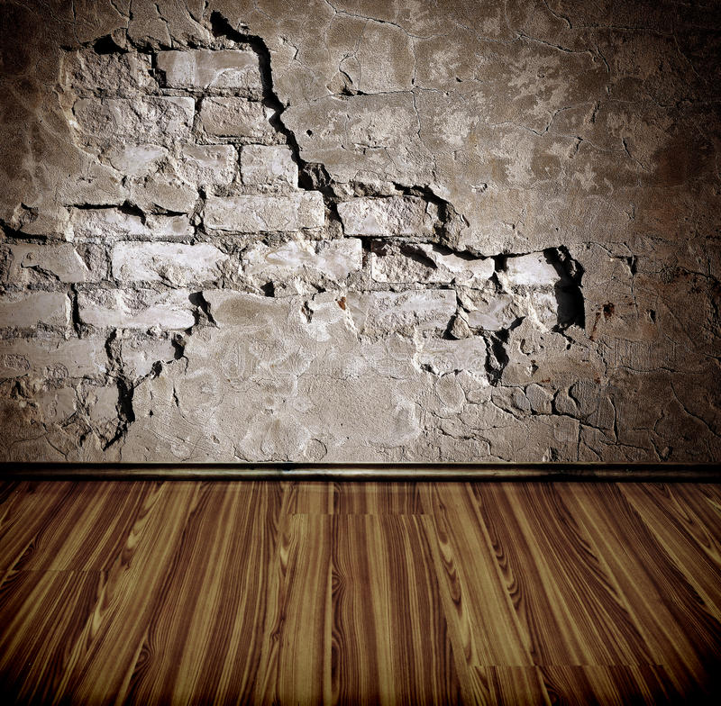 Old room with brick wall stock photography