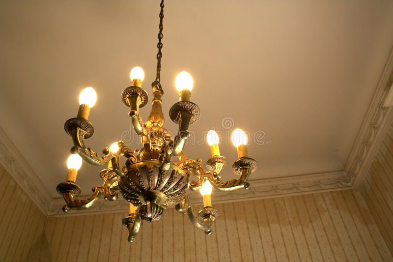 Old room and chandelier stock images