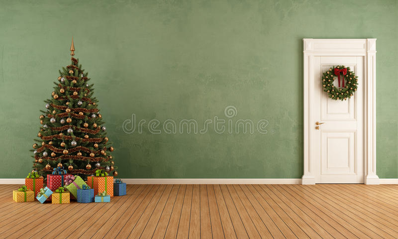 Old room with christmas tree. Present and closed door - rendering