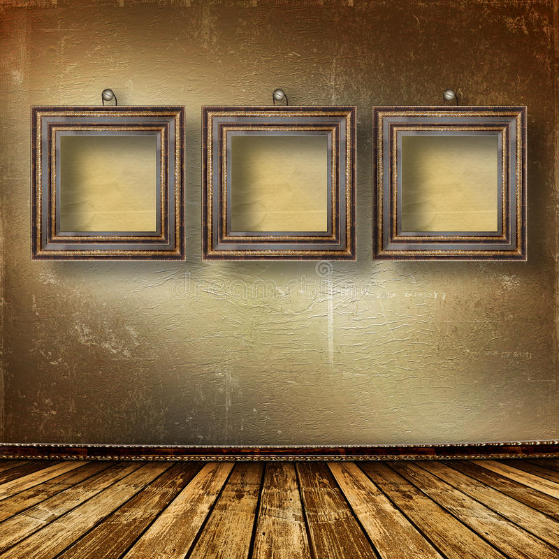 Old room, grunge interior with frames stock illustration