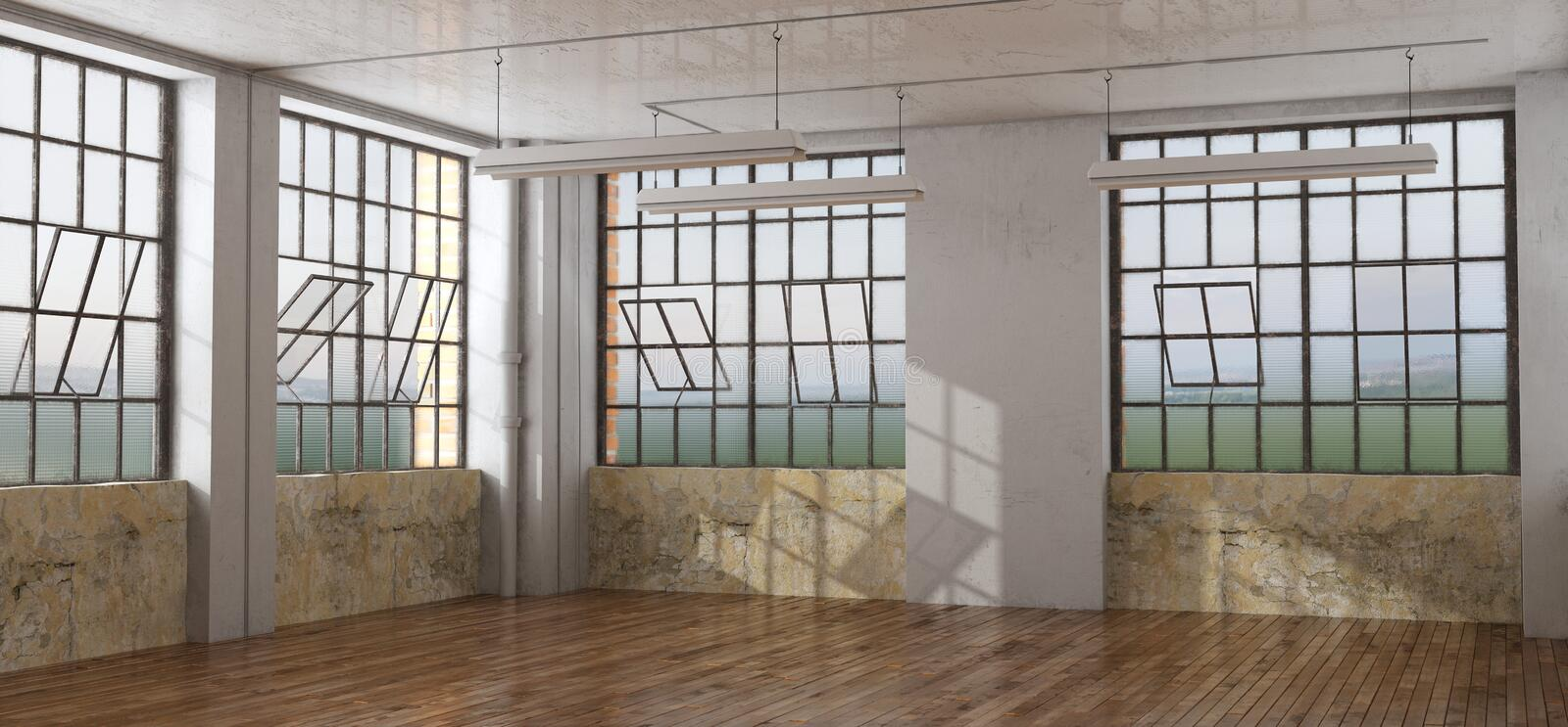 Old room in a loft stock photo