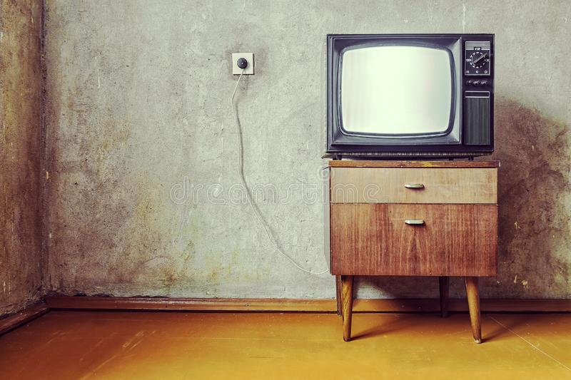 The old room with a retro the TV.  stock images