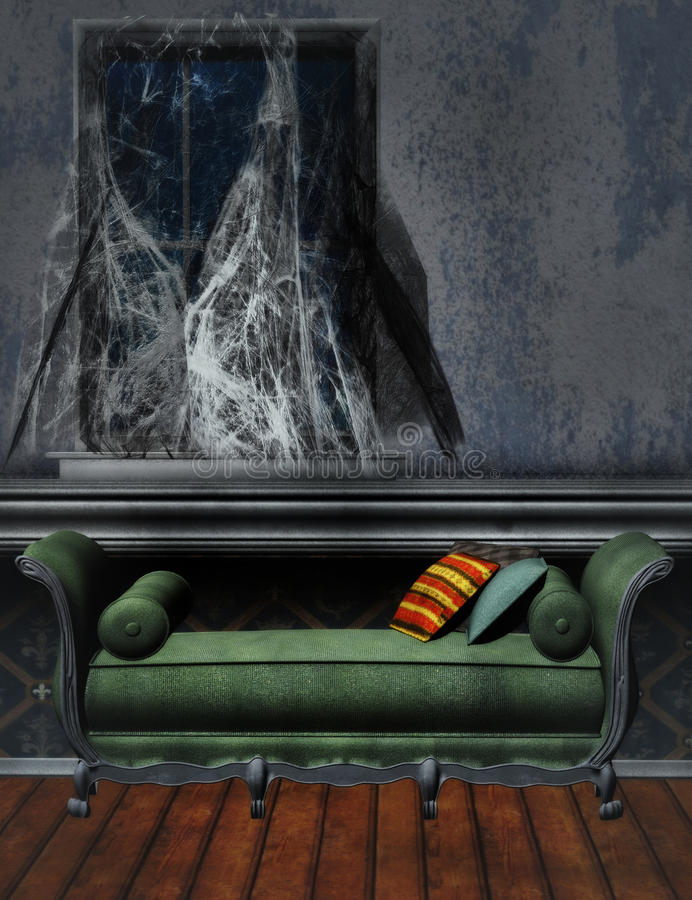 Old room with spider webs. Old room with couch, wooden floor and spider webs royalty free illustration