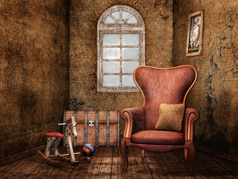 Download Old room with vintage toys stock illustration. Illustration of seat - 25510111