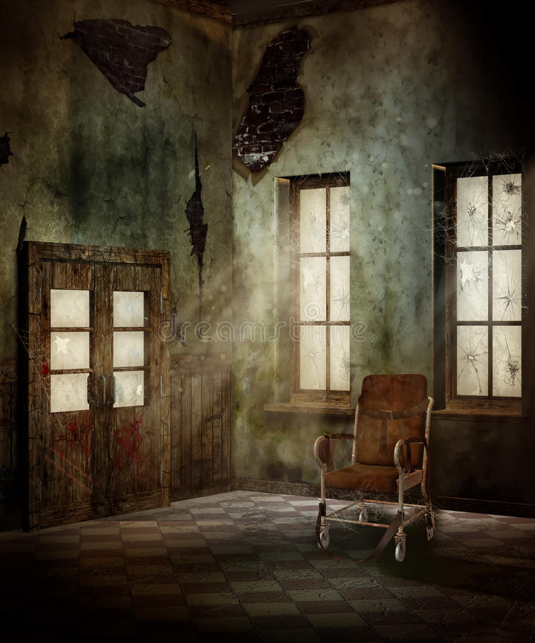 Download Old room with a wheelchair stock illustration. Image of dark - 19008735