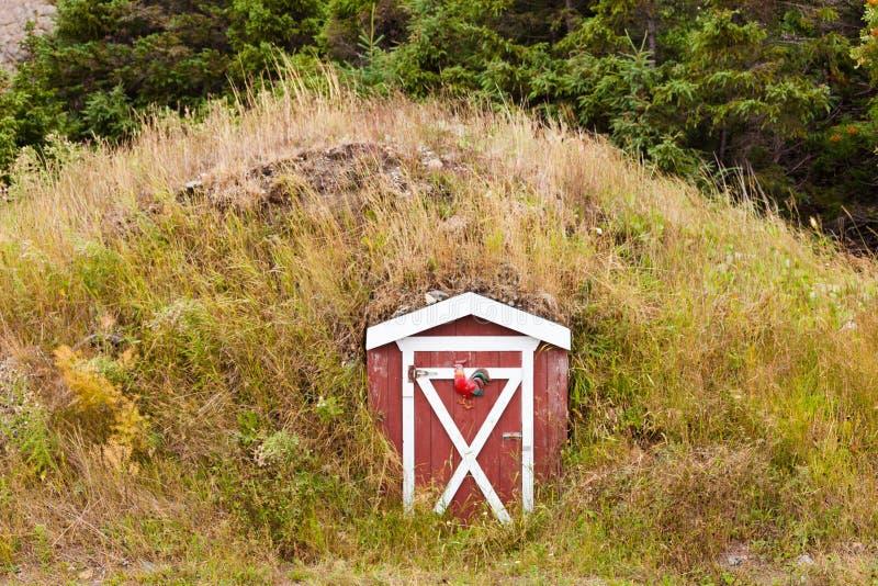 Old root cellar entrance door Newfoundland Canada royalty free stock photography