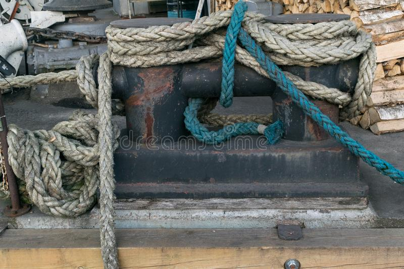 Old rope background. Big sea rope royalty free stock images