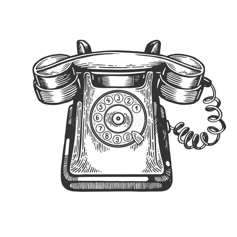 Old rotary dial phone engraving vector vector illustration