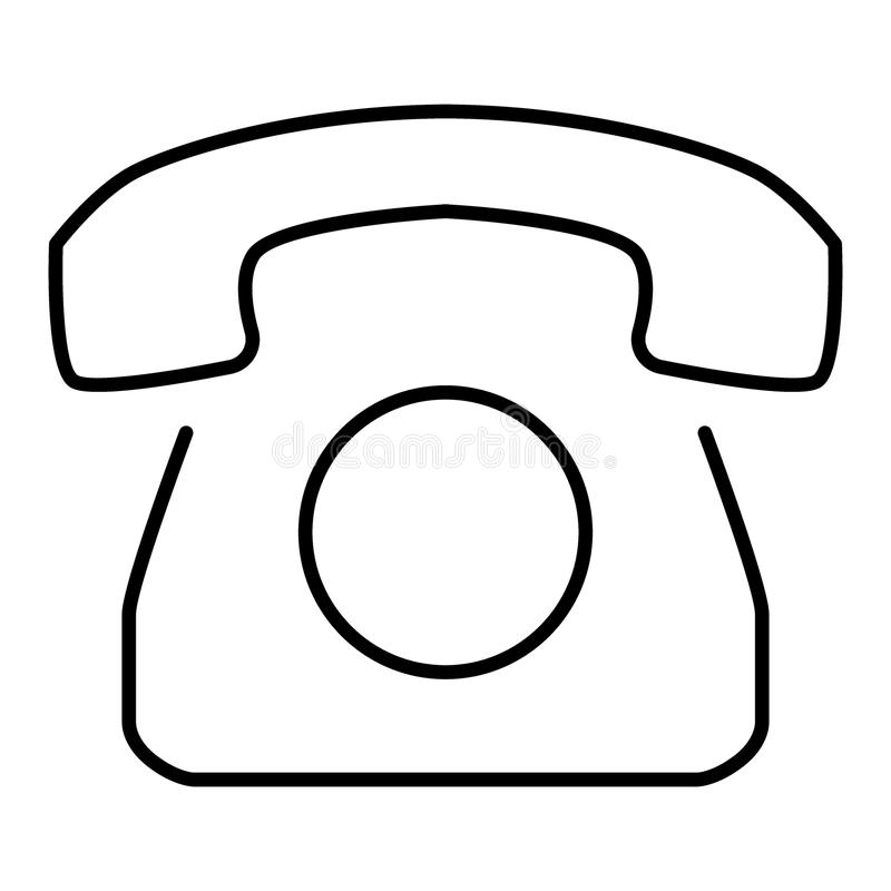 Old Rotary Phone Outline Icon. Vector icon isolated on white. Flat design. eps 10.  stock illustration