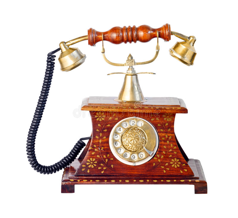 Old rotary telephone set. Isolated on the white background royalty free stock photos