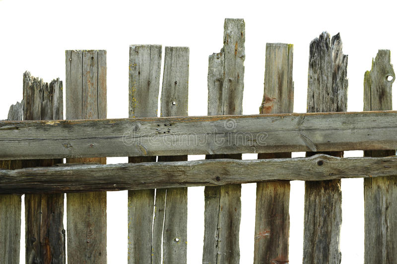 Old rotten fence of pine boards stock photo image